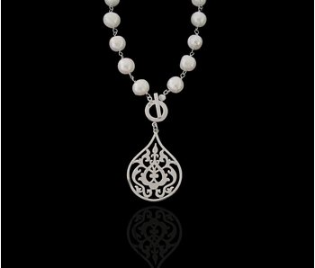 PEARL NECKLACE, LARGE SILVER ARABESQUE