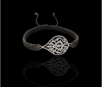 ARABESQUE SILVER BRACELET WITH BRAIDED CORD