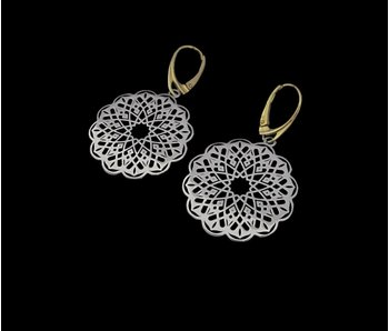 ROUND GEOMETRIC EARRINGS TWO TONE