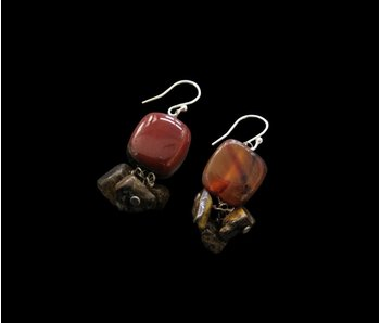 AGATE STONE EARRING WITH STONE DROP