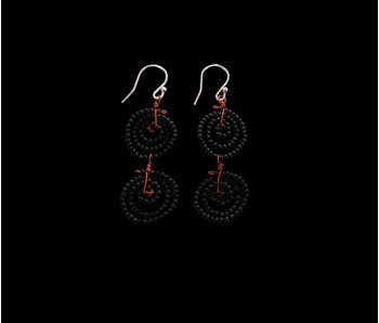 2-ROW BEAD SWIRL EARRINGS