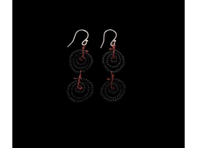 2-ROW BEAD SWIRL EARRINGS