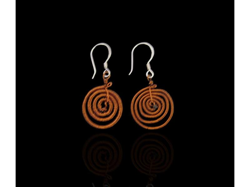 SMALL COPPER SWIRL EARRING WITH SILVER HOOK
