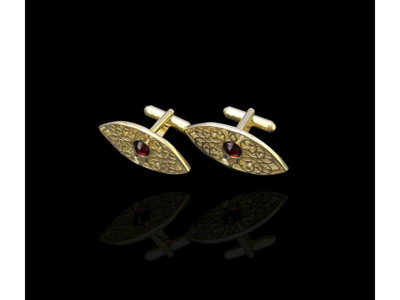 SILVER GP OVAL CUFFLINKS WITH CABOCHON