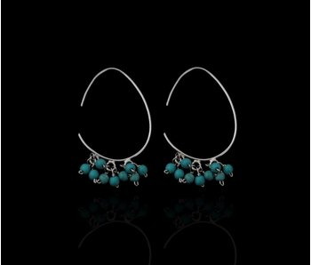 OVAL HOOP EARRINGS WITH TURQUOISE GEMSTONES