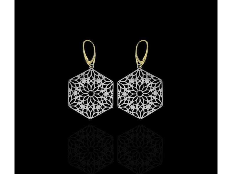 SILVER HEXAGON EARRINGS WITH GOLD PLATED HOOKS