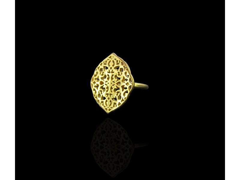 ARABESQUE OVAL RING SILVER GOLD PLATED