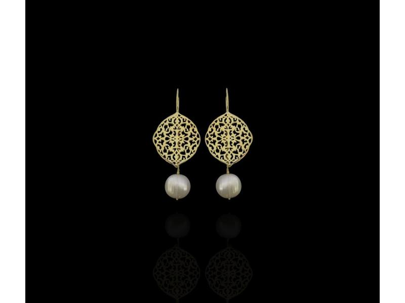 ARABESQUE OVAL EARRINGS WITH STONE DROP