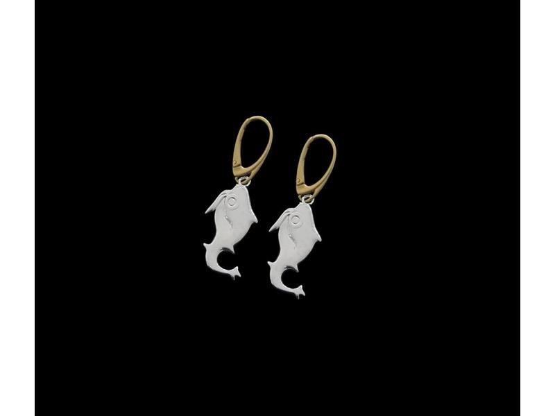 SILVER JERASH FISH EARRINGS WITH GP FRENCH HOOK