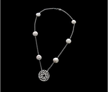 THICK CHAIN, SILVER MASHAALLAH DISC, BUTTON PEARLS