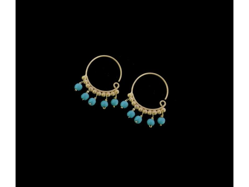 ROMAN REPLICA EARRING HOOP WITH MANY STONES