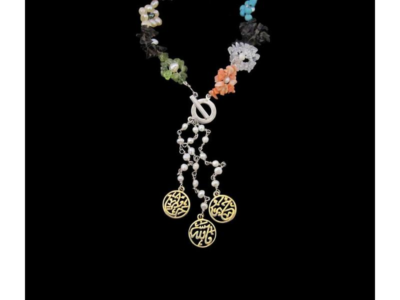 GEMSTONE FLOWER NECKLACE WITH WORD TASSEL