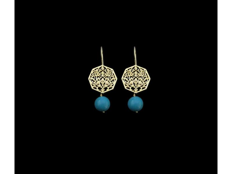 OCTAGON EARRINGS WITH STONE DROP