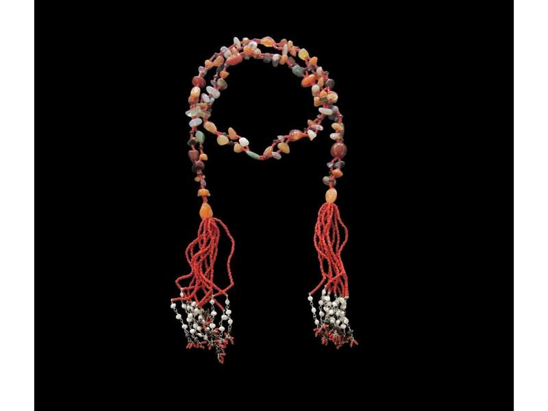 LARGE AGATE TIE NECKLACE W/ SILVER LINK ON TASSEL