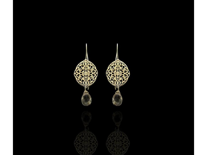OVAL ARABESQUE EARRINGS WITH CUT STONE DROP