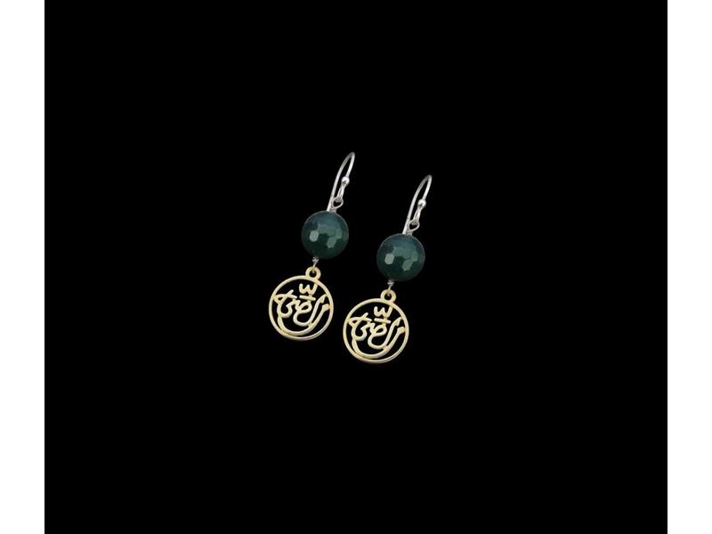 SILVER GOLD PLATED SALAM EARRING WITH PEARL ABOVE