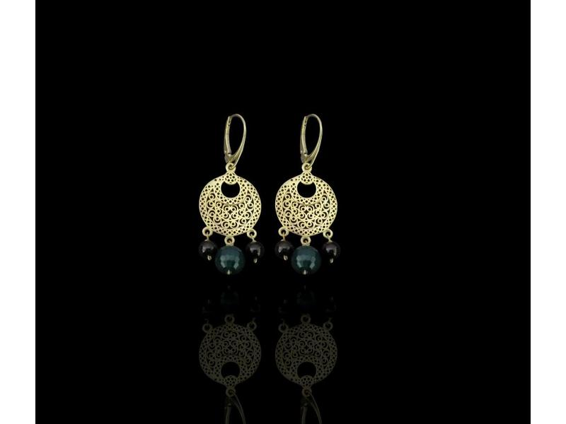 CRESCENT EARRINGS WITH 3 STONES