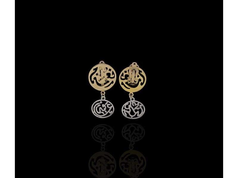 CLIP ON EARRING GP NIMAH WITH SILVER AFIA PENDANT