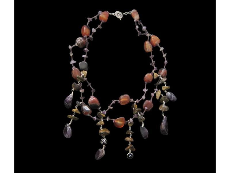 2-ROW SEMI-PRECIOUS STONE NECKLACE W/ CHARMS
