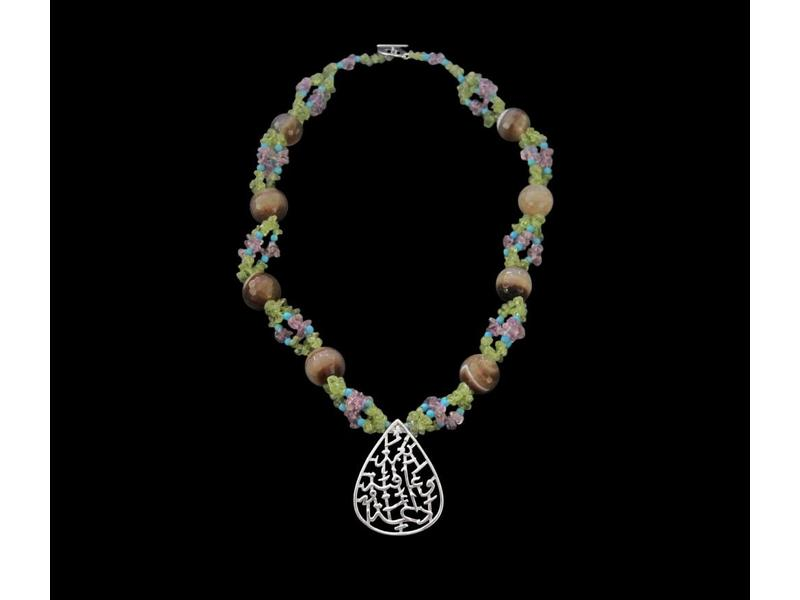 NIMAH EMBROIDERED STONE NECKLACE
