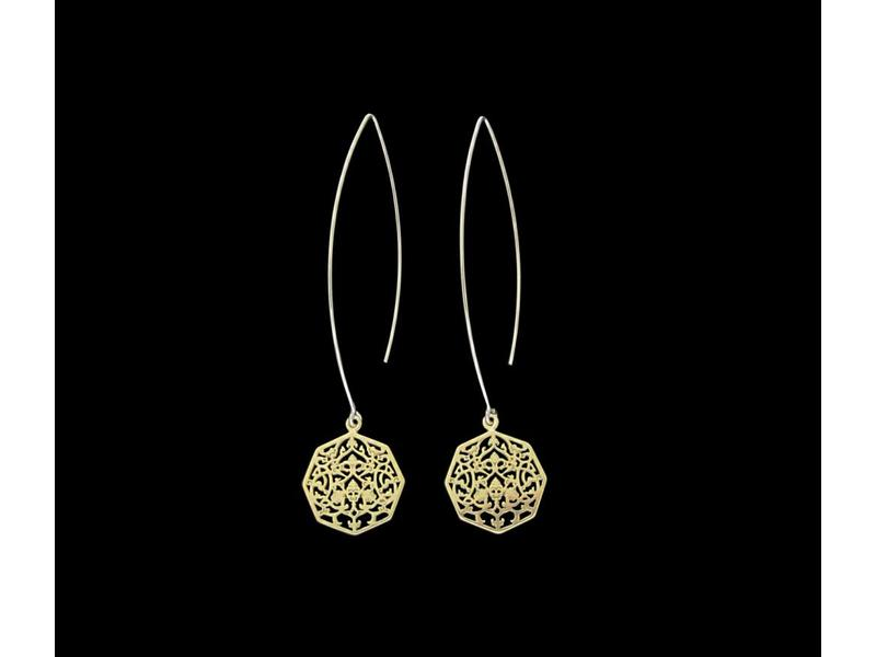 OVAL HOOK EARRINGS WITH OCTAGON GP