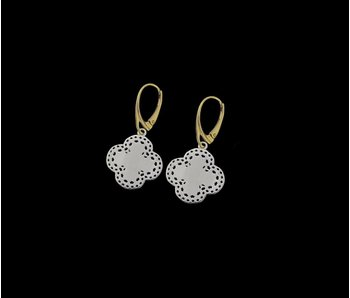 SMALL SILVER BORDER CLOVER EARRINGS WITH GP FRENCH HOOK
