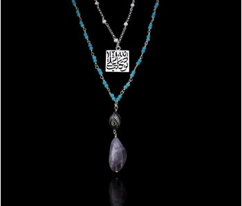 TWO ROW NECKLACE WITH TAWAKALT PENDANT