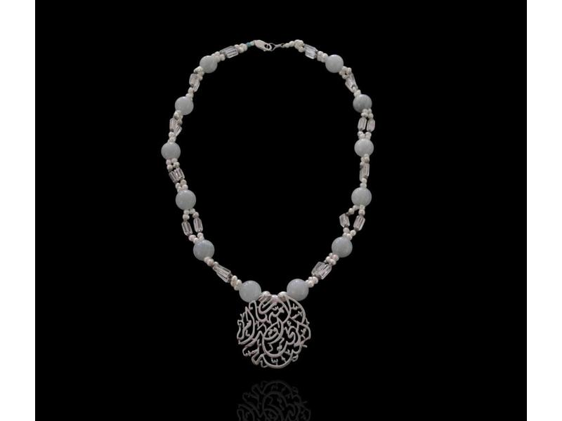 LARGE STONE NECKLACE WITH SILVER MOTHERHOOD PENDANT