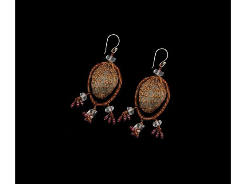PEBBLE EARRINGS WITH MESH CAGE AND BEADS