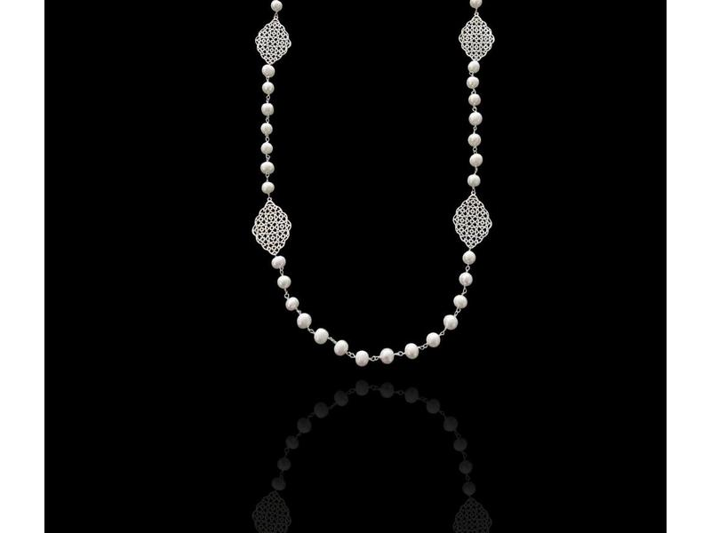 LONG PEARL NECKLACE WITH  GEOMETRIC MOTIFS