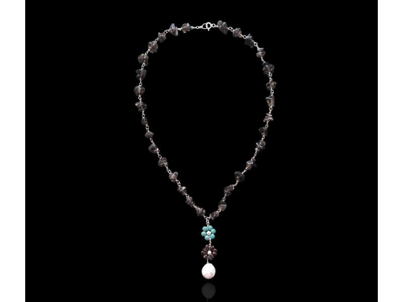 WIRE NECKLACE WITH GEMSTONES AND FLOWERS