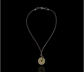 LEATHER NECKLACE WITH GOLD PLATED MASHA ALLAH DISC