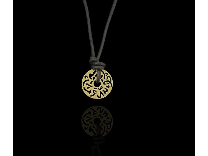 LEATHER NECKLACE, SILVER GOLD PLATED MASHA ALLAH