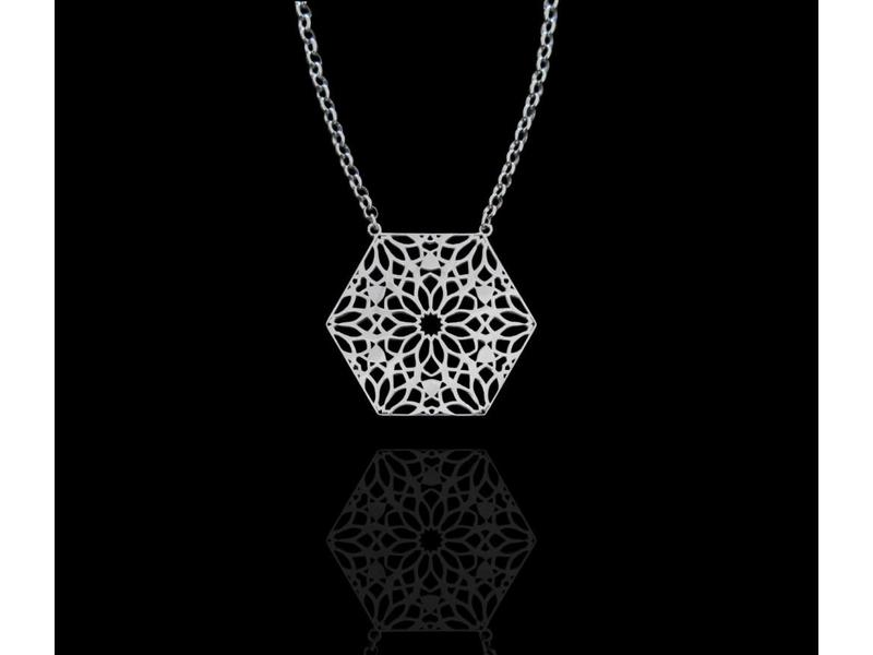 LARGE HEXAGON NECKLACE ON SILVER CHAIN