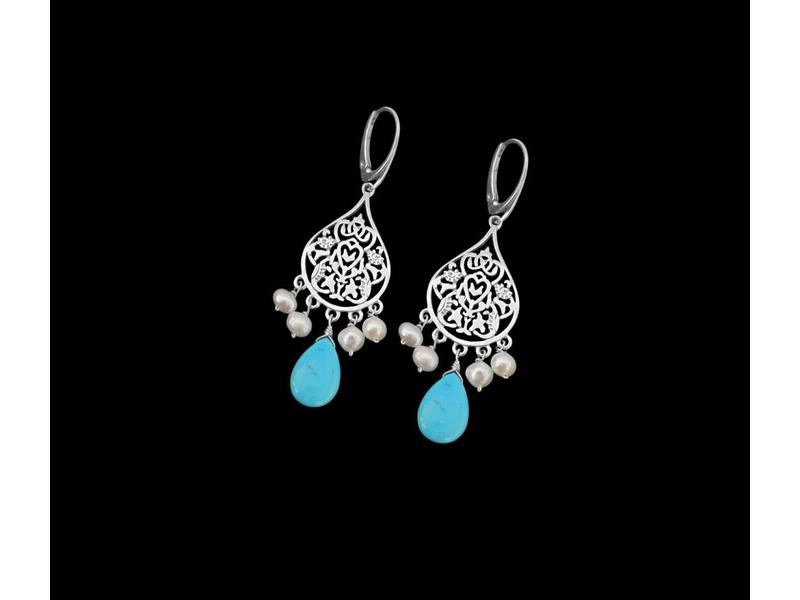 SMALL ARABESQUE EARRINGS TURQUOISE AND PEARLS