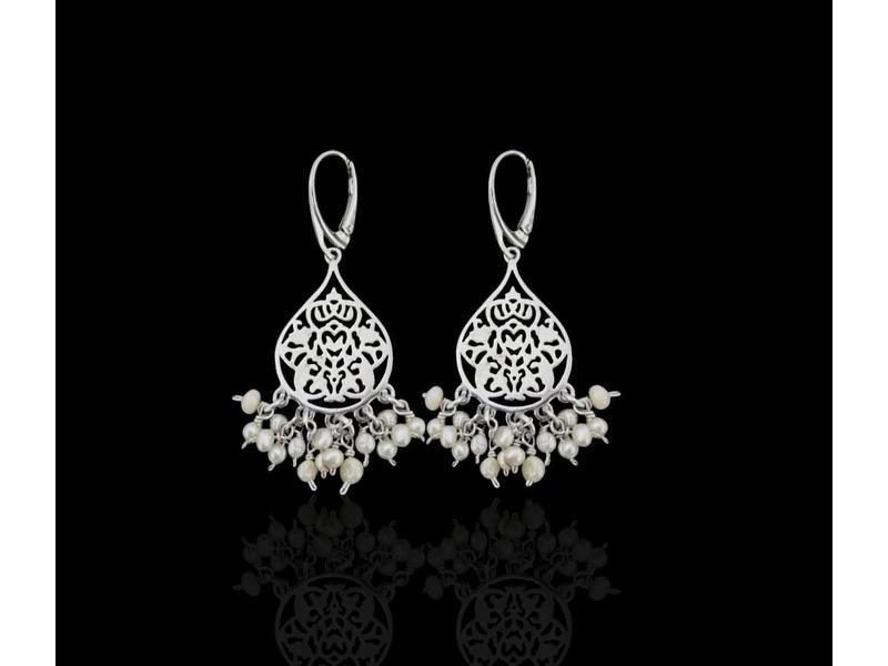 SMALL SILVER ARABESQUE EARRINGS WITH DANGLES