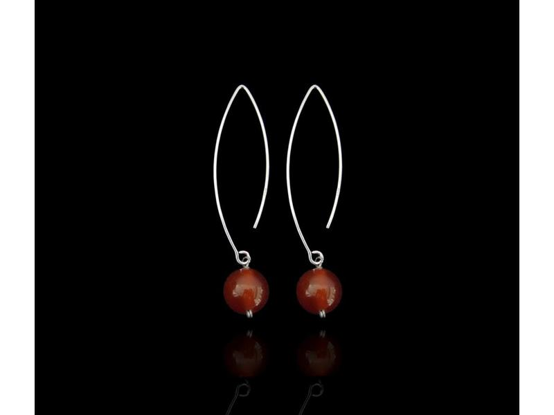 SMALL OVAL HOOK EARRINGS WITH GEMSTONE