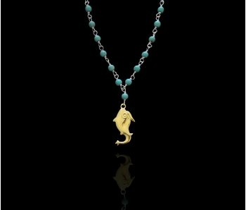 STONE WIRE NECKLACE WITH GOLD PLATED JERASH FISH PENDANT