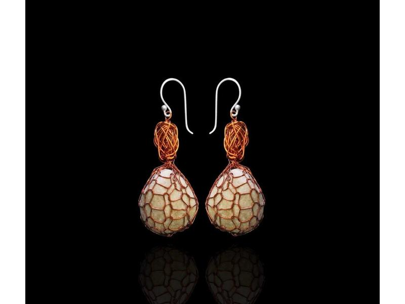COPPER BEAD EARRING WITH WRAPPED DEAD SEA PEBBLE