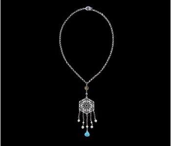 CHAIN NECKLACE WITH HEXAGON AND GEMSTONE TASSELS