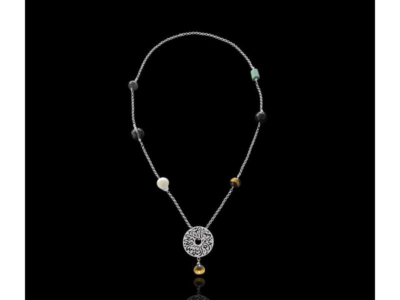 SILVER CHAIN NECKLACE WITH MEDIUM DISC AND GEMSTONES