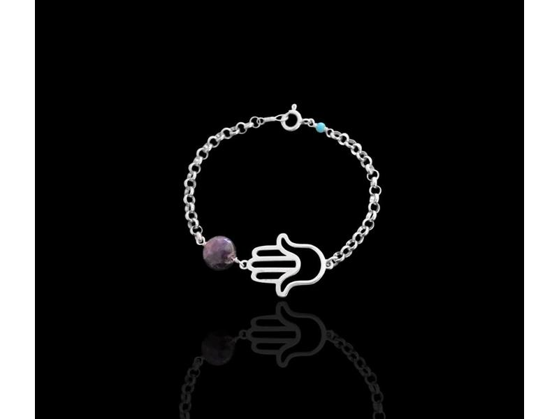 HAND OF FATIMA BRACELET, SILVER, WITH STONES