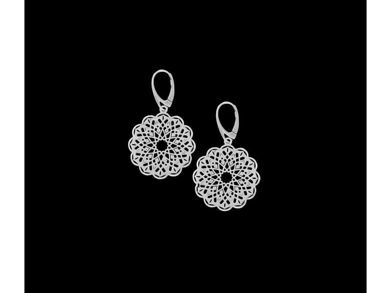 ROUND GEOMETRIC SILVER EARRING