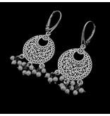 SILVER CRESCENT EARRINGS WITH PEARLS