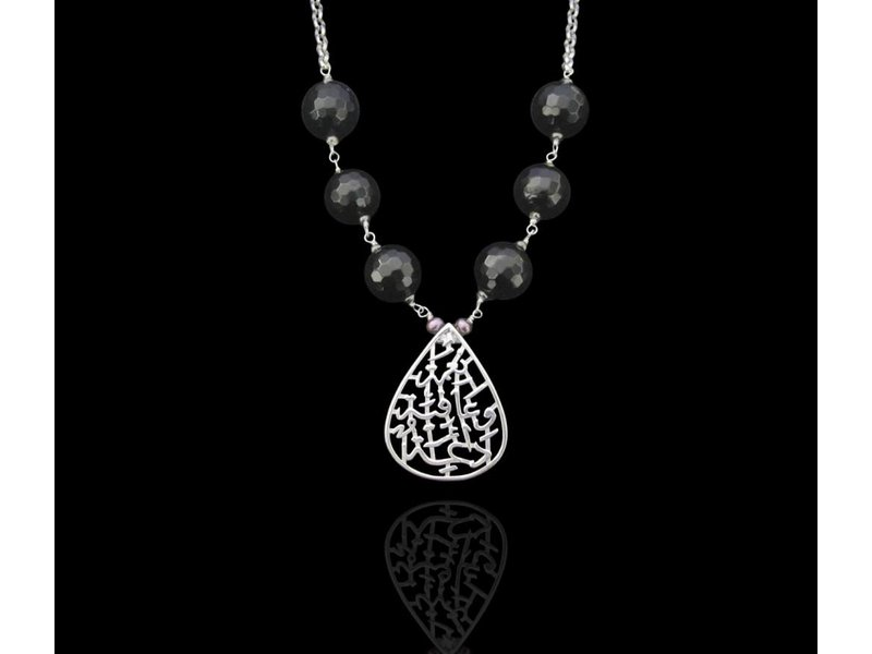 NIMAH DROP NKL ON SILVER CHAIN WITH 6 STONES