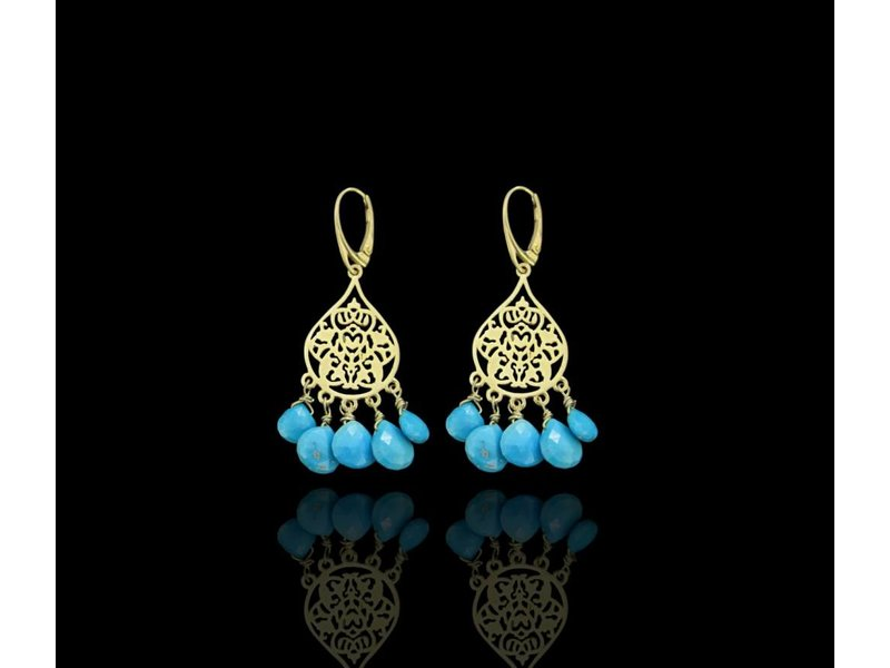 SMALL ARABESQUE GP EARRINGS WITH CUT STONE DROPS
