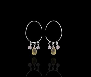 LARGE OVAL EARRINGS WITH HAND CUT GEMSTONES