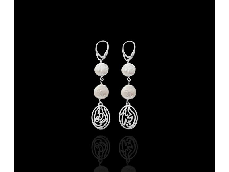 TWO TIER BUTTON PEARL DROP EARRINGS WITH CALLIGRAPHY