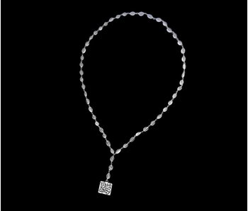 LONG STONE WIRE NECKLACE WITH SQUARE TAWAKUL