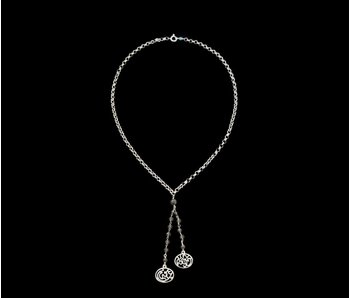 SILVER CHAIN NECKLACE WITH PEARL TASSEL AND GOOD HEALTH ALWAYS